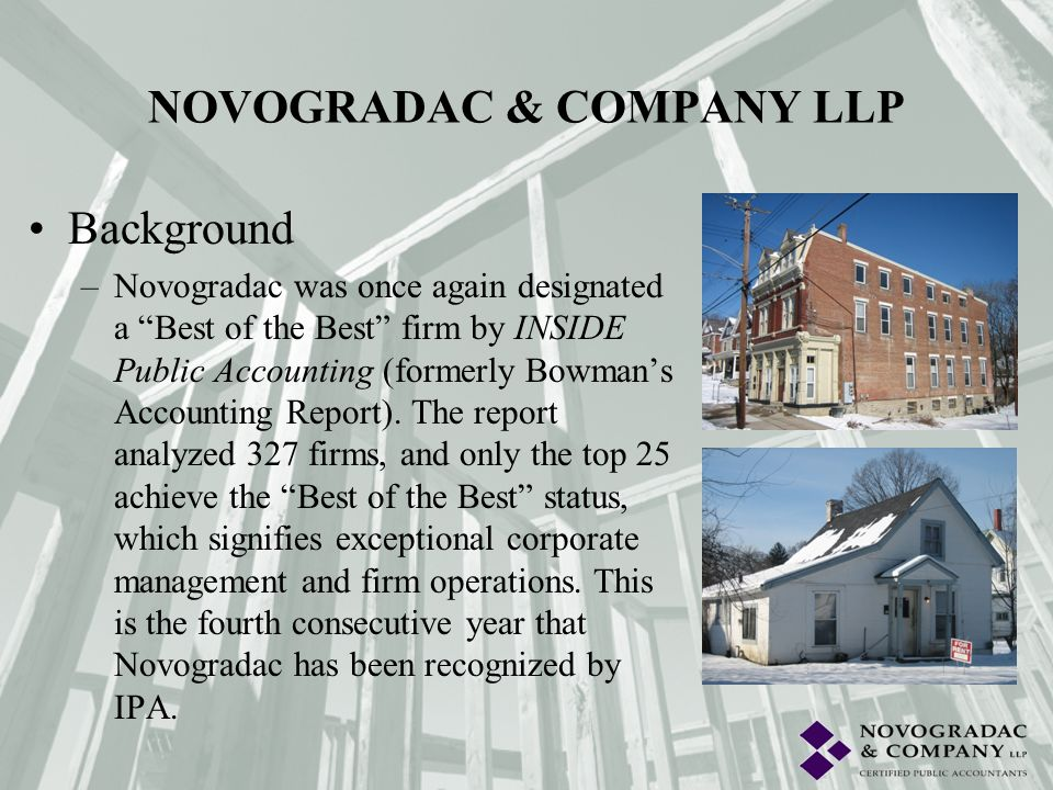 Background –Novogradac has expertise in: Economic & market research, including infrastructure investments, satisfaction surveys, and specialty studies.