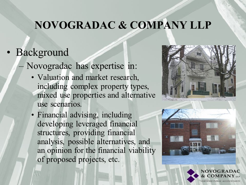Background –Novogradac has expertise in: Federal government consulting including military housing privatization, Enhanced Use Leasing, HUD and OSD policies and procedures, lodging facilities, etc.