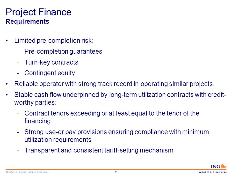 Structured Finance – Natural Resources 12 Project Finance Requirements Ownership structure: -Strong market position of the sponsors/shareholders -Maintenance of ownership requirements Stable contractual framework underpinning the financing structure.