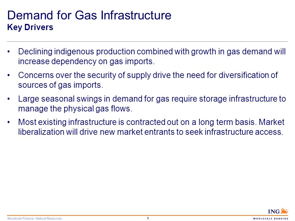 Structured Finance – Natural Resources 7 Demand for Gas Infrastructure Key Drivers Net Gas Imports in OECD Europe are projected to rise to 499 bcm by 2030 Source: IEA & ING Estimates