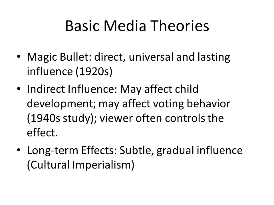 Socialization Theory (indirect influence) how We learn how to act in society Agents of socialization – Family – Peers – Education – Religion – Mass Media