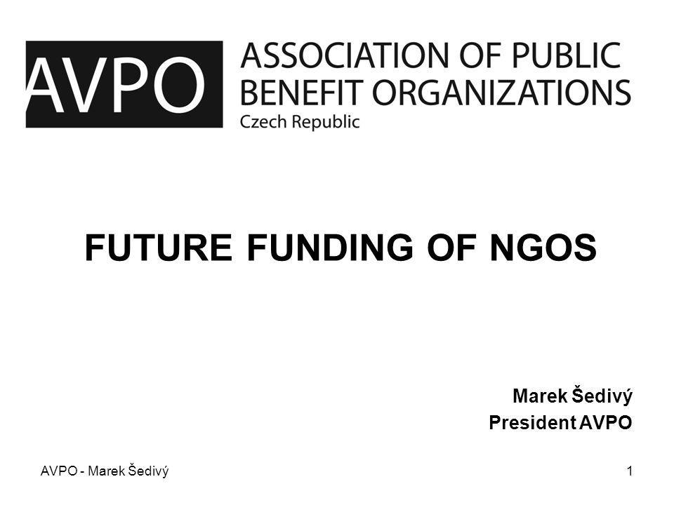 Future Funding of NGOs GRANT OPERATORS that will be discussed: –Hyundai Foundation Fund (administrated by the Open Society Fund Prague) –Open Society Found –Czech-German Fund For The Future –Swiss – Czech Cooperation Program –Partnership Foundation AVPO - Marek Šedivý2