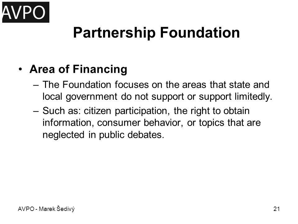 Partnership Foundation Timing: –Application deadline: In 2012 Basic Grant Program is not declared because of missing financial resources AVPO - Marek Šedivý22