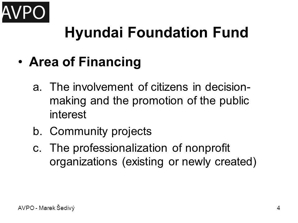 Hyundai Foundation Fund Rules of Access for NGOs –meaningful activities with social necessity and usefulness –a high level of public participation –project feasibility and adequacy of the budget –sustainability of positive impacts of the project in the future –to prove difficulties in obtaining other financial sources AVPO - Marek Šedivý5
