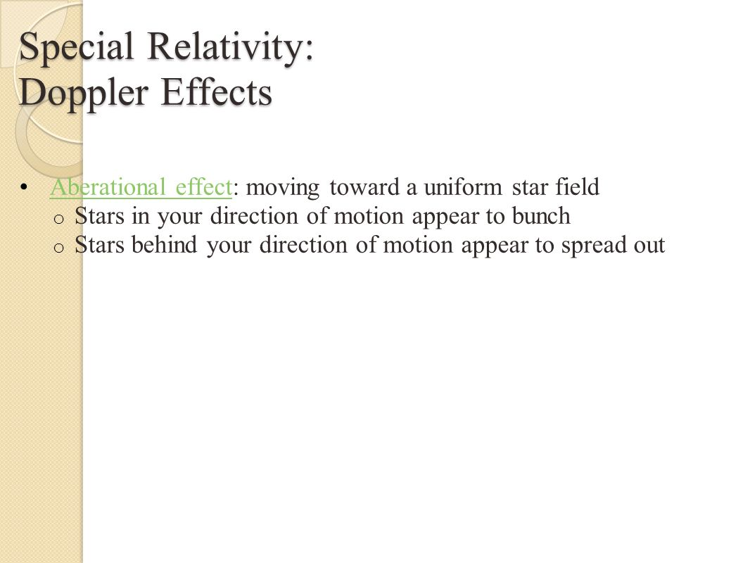 Special Relativity: Doppler effects Earth s motion with respect to the cosmic microwave background radiation