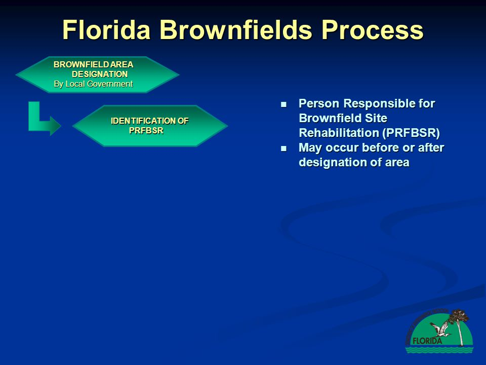 Florida Brownfields Process BROWNFIELD AREA DESIGNATION By Local Government IDENTIFICATION OF PRFBSR EXECUTION OF BSRA By FDEP and PRBSR Brownfield Site Rehabilitation Agreement (BSRA) Brownfield Site Rehabilitation Agreement (BSRA) Voluntary Voluntary Negotiable Negotiable Eligible for voluntary cleanup tax credit Eligible for voluntary cleanup tax credit Model agreement available on line Model agreement available on line