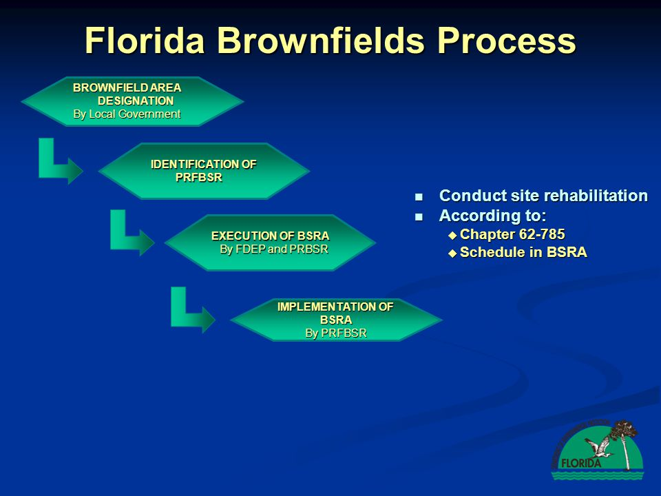 Florida Brownfields Process IDENTIFICATION OF PRFBSR EXECUTION OF BSRA By FDEP and PRBSR SRCO IMPLEMENTATION OF BSRA By PRFBSR Site Rehabilitation Completion Order (SRCO) Site Rehabilitation Completion Order (SRCO) BROWNFIELD AREA DESIGNATION By Local Government