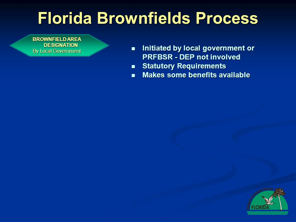 Brownfield Area Designation by Local Government Local government must consider whether the Brownfield area: Local government must consider whether the Brownfield area:  Warrants economic development  Is reasonably focused, not overly large  Has potential interest to the private sector  Is suitable for recreation or preservation