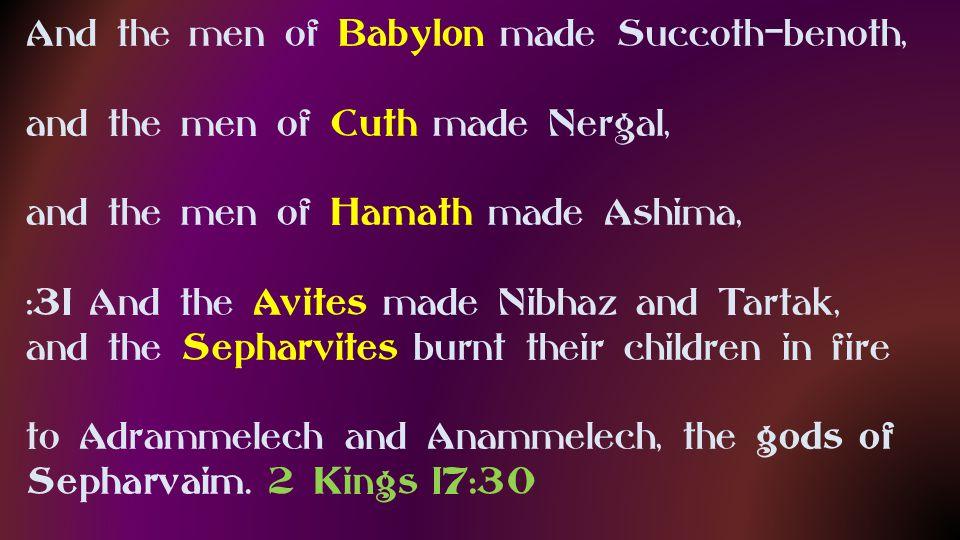 Babylon made Succoth-benoth, Cuth made Nergal