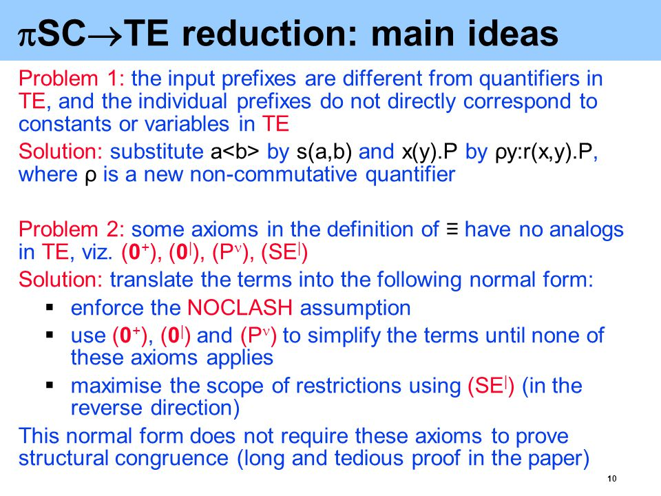 11  SC  TE reduction (cont'd) The resulting terms comprise an instance of TE, where: + and   are associative-commutative operators s(_,_), r(_,_), the prefixing operator '.' and the process identifiers are uninterpreted functional symbols is a commutative quantifier and ρ is a non-commutative quantifier public channels,  and 0 are constants (since all the axioms for 0 no longer apply, it can be regarded as uninterpreted) the names introduced by the restriction and input prefixes are the names bound by the quantifiers and ρ