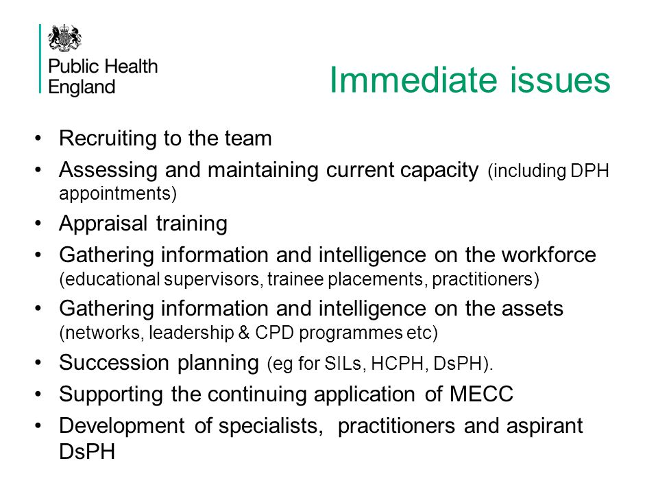 Are these the right issues to be addressed? What else should PHE be doing? Questions