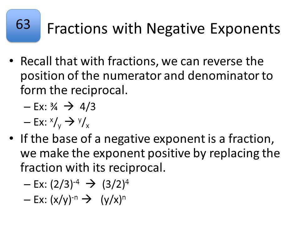 63 Example 5 Simplify: (1/3) -2 Simplify: (1/2) -3