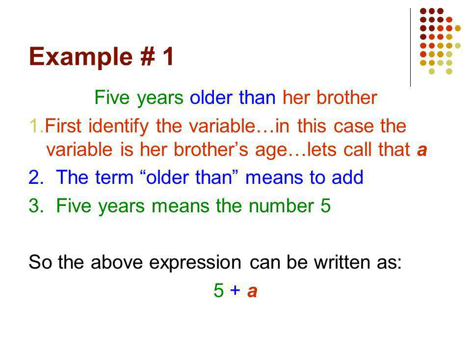Comments It is very difficult to teach this concept to students as each student reads and has a different understanding… However, the key to converting expressions and equations to algebraic terms is identifying the variable first… Finally…there is no getting around it…to master this concept…you must practice it!