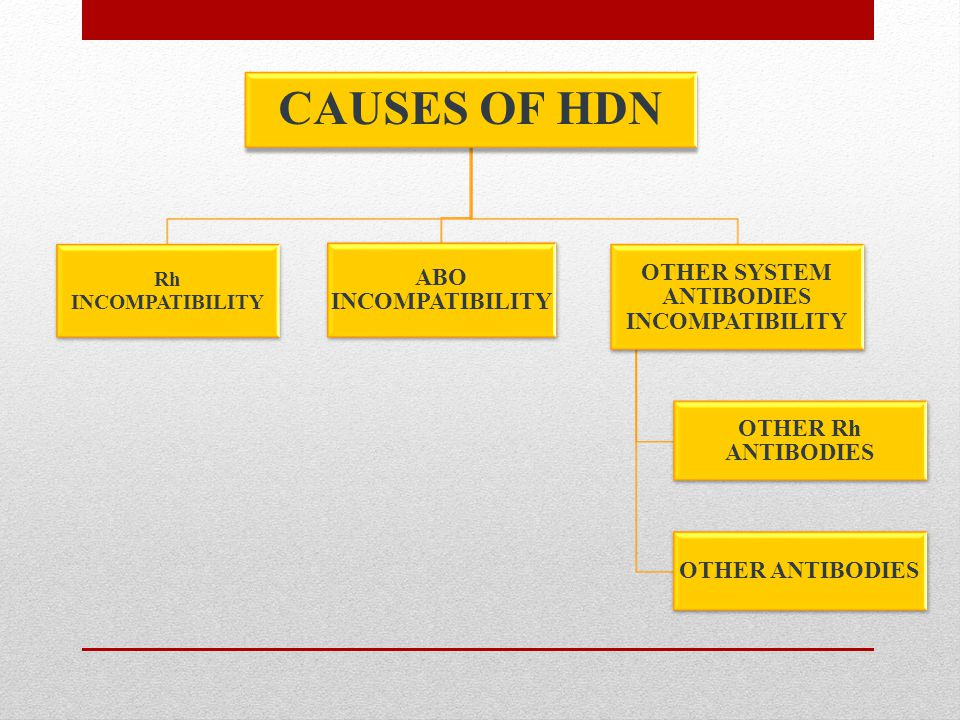 CAUSES OF HDN 1)Rh incompatibility - HDN is occured when a mother with Rh-negative blood becomes pregnant with Rh-positive baby that inherited from Rh-positive father.