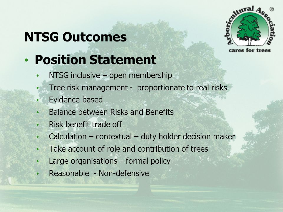 NTSG Outcomes Guidance at three levels: 1.Information leaflet or 'briefing note' – a small (4 sides of A4) leaflet summarising the principles.