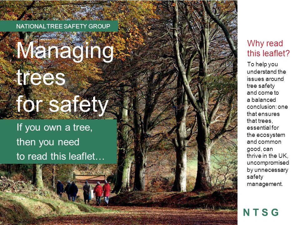 NTSG Full Guidance Discusses the many benefits that trees bring to society Considers the risks from falling trees, within the wider context of other risks Outlines the legal framework for considering trees in relation to public safety Seeks to provide reasonable and practical measures to fulfil legal responsibilities Provides several scenarios as models for putting these measures into practice.