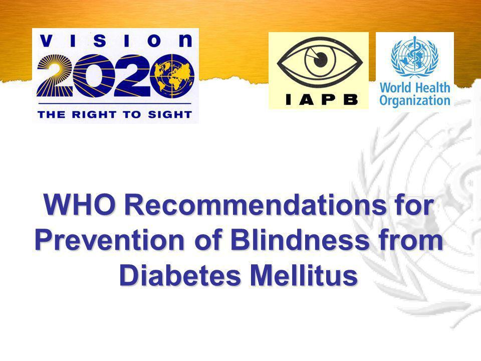 WHO Publication WHO Publication Prevention of blindness from diabetes mellitus (Report of a WHO consultation in Geneva, Switzerland 9-11 November 2005) Diabetic Retinopathy Control - Public Health Concept - Public Health Concept