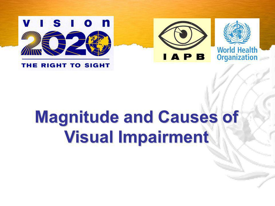 314 million people visually impaired (VA<6/18) Global Magnitude of Blindness and Visual Impairment 153 Million Uncorrected Refractive Errors (Avoidable) 161 Million Eye diseases (Avoidable or Unavoidable) 49% 51% © WHO