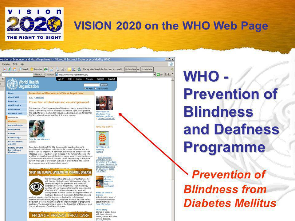 WHO Publication: Prevention of blindness from diabetes mellitus The consultation considered evidence from around the world to determine a unified approach to preventing unnecessary blindness.