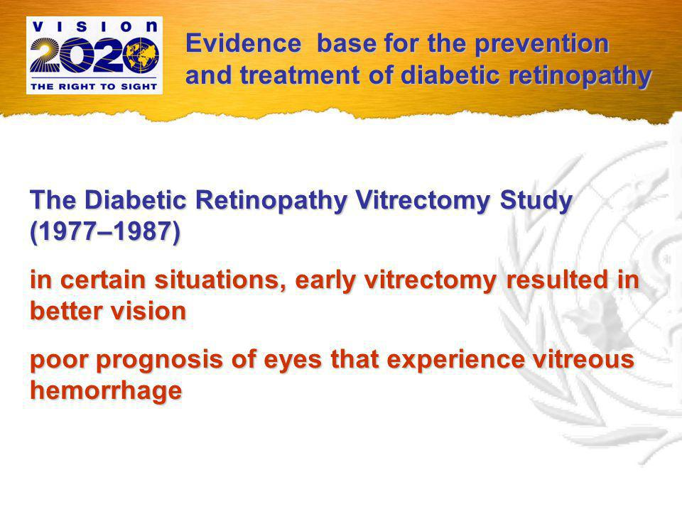 The Diabetes Control and Complications Trial (1983–1993) intensive control of blood glucose as reflected in measurements of glycosylated haemoglobin reduced the risk for progression of diabetic retinopathy Seven years after completion of the Diabetes Control and Complications Trial, the Epidemiology of Diabetes Interventions and Complications Trial showed that persons in the intensive control group continued to have a substantially lower risk for progression of retinopathy Evidence base for the prevention and treatment of diabetic retinopathy