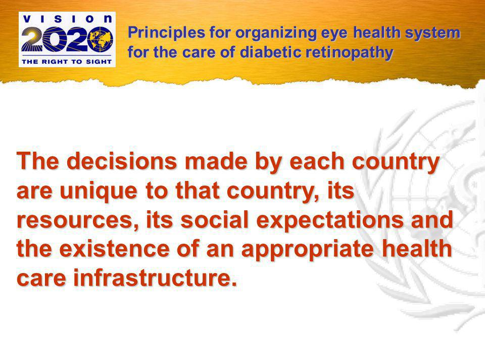 The question of what management should be provided once a given degree of diabetic retinopathy is detected is up to each society.