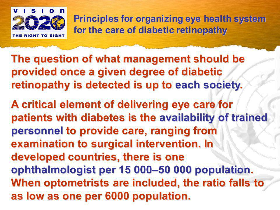 WHO Recommendations for Prevention of Blindness from Diabetes Mellitus: Principles in Eye Care for Patients with Diabetes