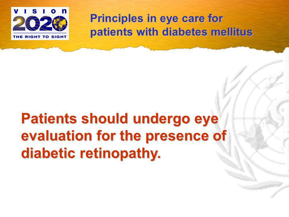 If retinopathy is detected or if a patient is referred to an eye care provider for an examination, the society must deliver the necessary level of eye care.