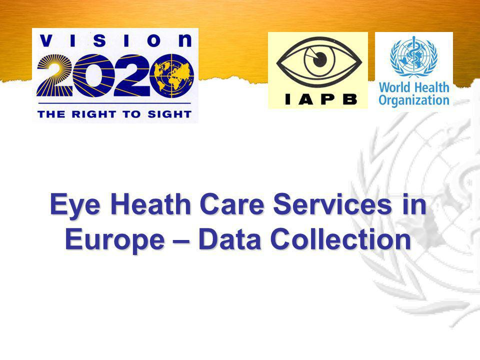 Eye Health Care Services in the European Region Study 1998 2003 2008