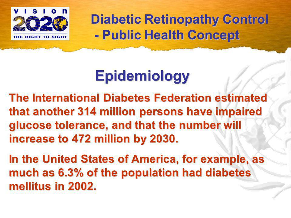 Epidemiology Diabetic retinopathy correlates with the duration of diabetes → with increasing life expectancy, diabetic retinopathy and the resulting blindness will tend to increase.