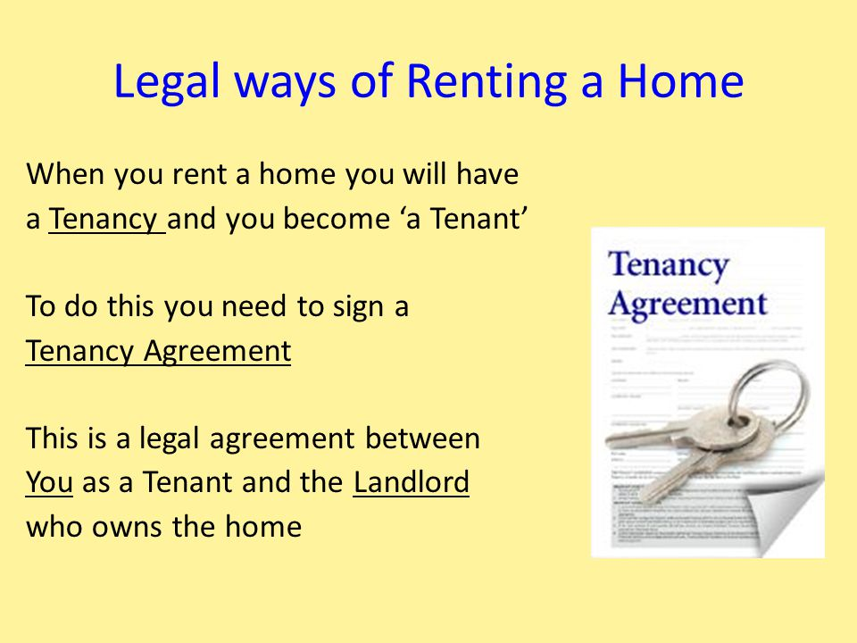 Types of Tenancy agreement There are many types of tenancy agreement 1.Some mean you can stay in your home for a very long time, like an Assured Tenancy 2.