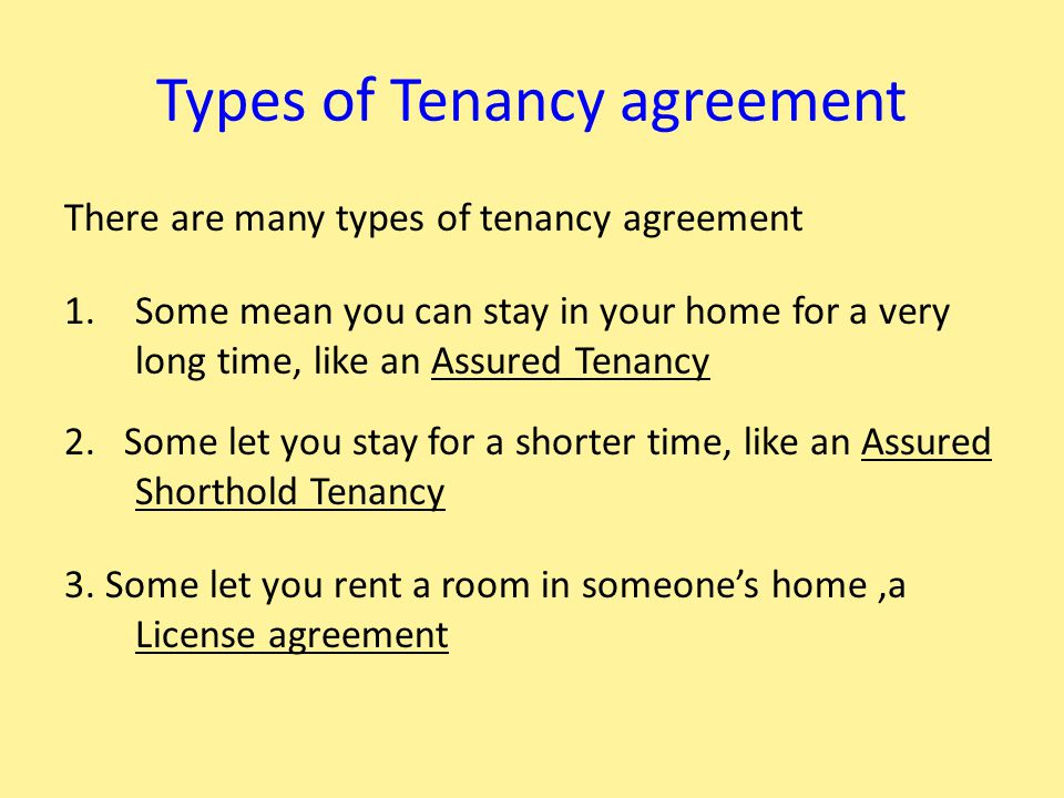 The Rules The Tenant follows You agree to follow the rules of the Tenancy, 1.To make a weekly payment to live there – this is called 'the Rent' 2.To look after your home, keep it clean & tidy 3.To respect people living near by & not make noise 4.To report any repairs 5.To let the landlord in to do repairs 6.Agree not to damage your home