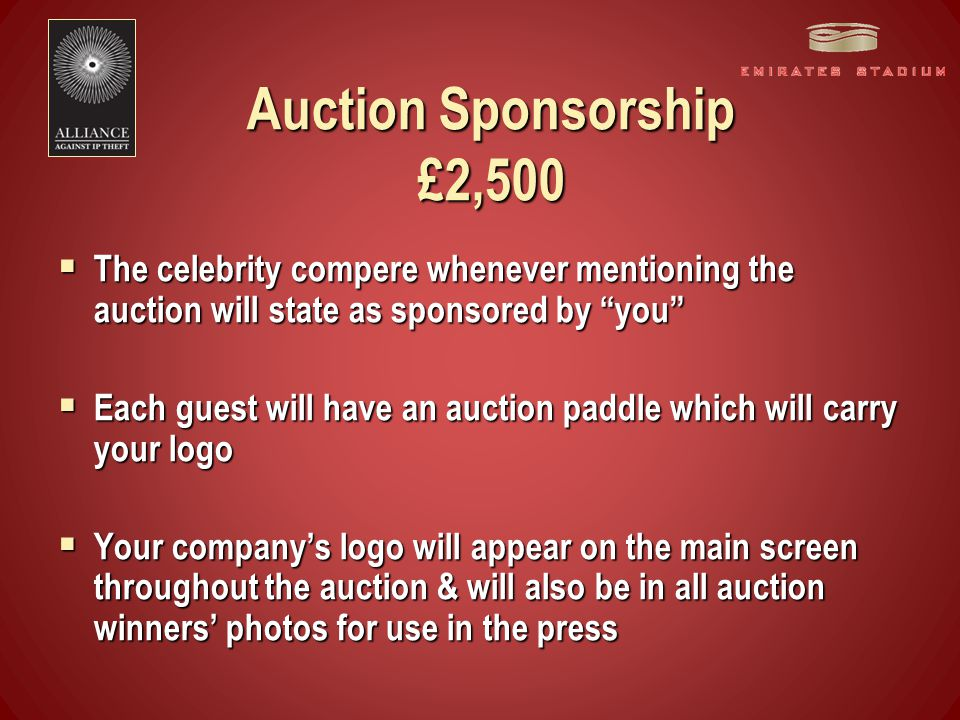 Quiz Sponsorship £750 per round  Each round of the quiz will be owned by its sponsor e.g.
