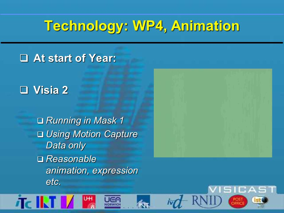 Technology: WP4, Animation  Visia 2 in MPEG-4  Mesh partitioned into anatomical segments  MPEG-4 compliant authoring tool  Animation editing tool  Server-client tool for TX of animation parameters  MPEG-4 SNHC player <25fps  Embedded within an MPEG-4 set-top box