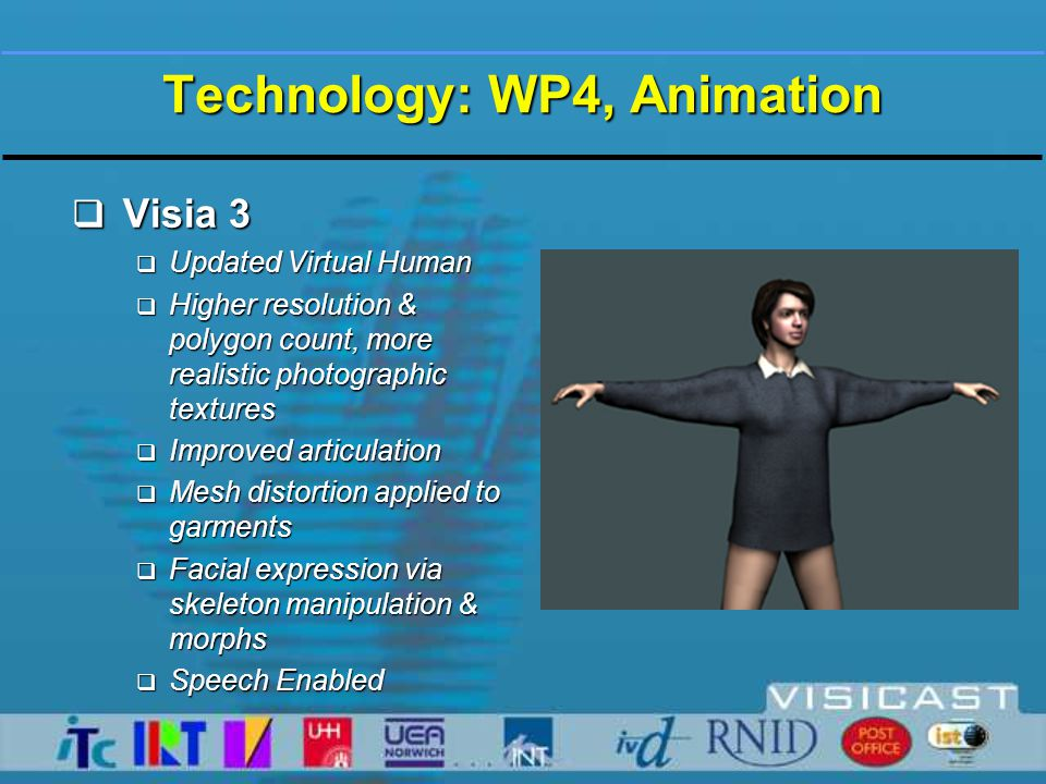 Technology: WP4, Animation  Visia 3  New host software - Mask TNG  Writing new Active X Controls  Superior functionality, lighting and Camera FX, image quality, frame rate, flexibility etc.