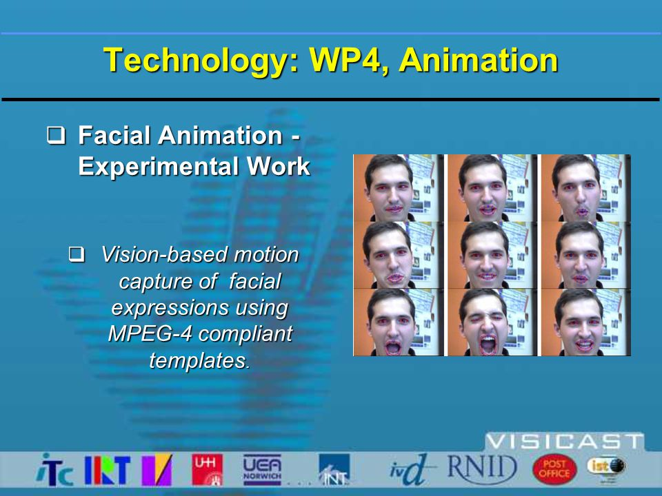 WP4: Synthetic Animation - Introduction  Task:  Make avatar do signing synthetically  as specified by ViSiCAST's Signing Gesture Markup Language - SiGML  Motive:  Synthetic animation is more flexible than animation via motion-capture - just write some more SiGML  Support Natural-Language-to-Animation strategy of WP4-5  In broadcasting applications: put synthetic player on receiver and transmit SiGML - very low bandwidth