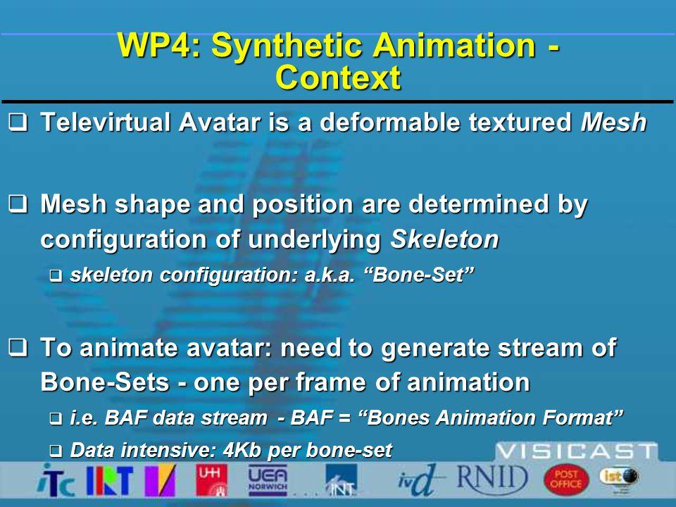 WP4: Synthetic Animation - Technical Approach  SiGML specifies gestures through:  Postures:  hand shape  hand orientation - palm and extended finger direction  position of hand(s) in signing space  Motions - straight-line, circular, zig-zag etc.