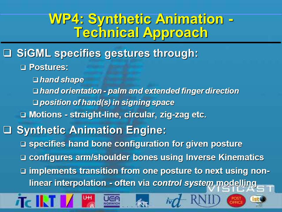 WP4: Synthetic Animation - Progress (i)  Initial Prototype (D4-2) delivered 2001-12  Supported most of manual SiGML  Implemented in Perl (interpreted scripting language)  BAF/VRML output to file - and then to avatar  Relatively slow - often < 15 fps  Perl module packaged as ActiveX control  relatively unwieldy architecture  Enhancements for 2002-02 (M5-11)  BAF data stream cached in memory-fed directly to avatar  Front-end(for WP5): HamNoSys input server, with built-in HamNoSys-to-SiGML translation