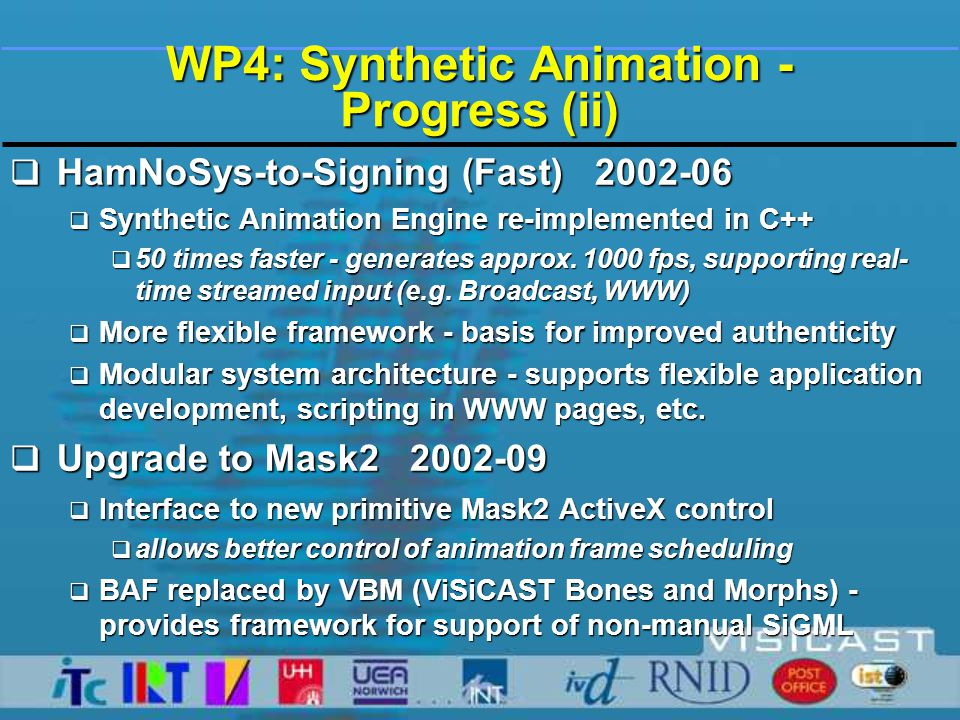 Presentation by Streams - Linguistics  WP 4 Animation  Increased realism in sign generation  Enhanced signing experience  WP5 Sign Language Linguistics  Use of natural sign language  Synthesis of sign language gestures