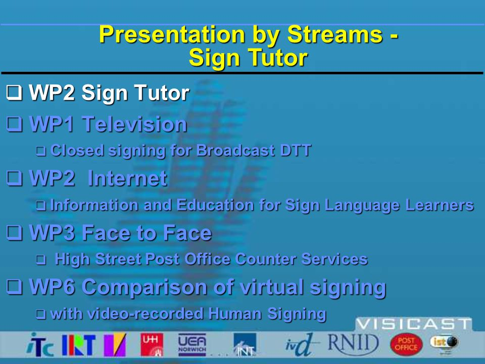 Presentation by Streams - Television  WP2 Sign Tutor  WP1 Television  Closed signing for Broadcast DTT  Enhanced signing experience  Regulation and Standards  WP2 Internet  Information and Education for Sign Language Learners  WP3 Face to Face  WP6 Comparison of virtual signing