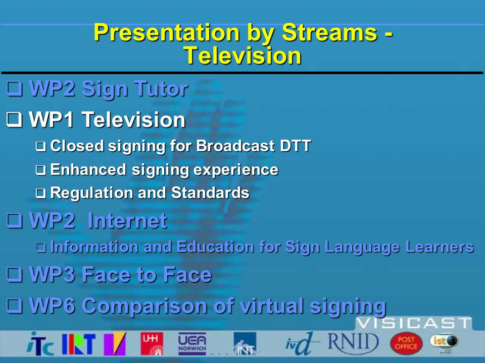  Low transmission rate < 25 kbit/s  Compatibility with signing on other media and sign languages  Precise, sharp representation of signer  Open display options  Compliance with international standards: MPEG, DVB  Future-proof:  cost saving  allows vast no.