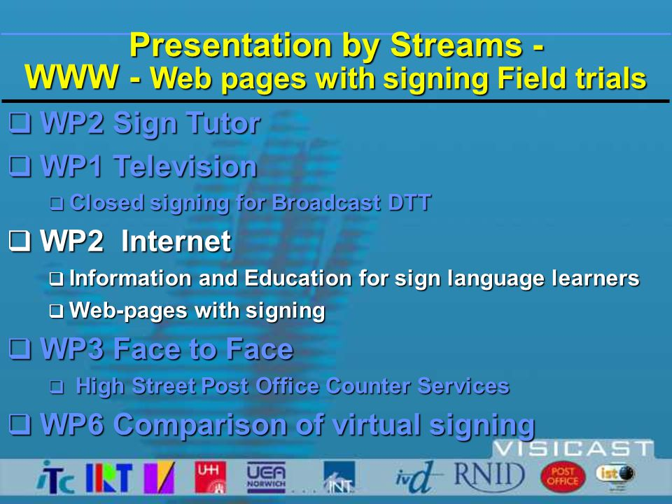 weather signs avatar content provider forecast creation tool user 'play list' Internet web-browser + plug-in 1rst DEMO2nd DEMO Weather Forecast Application