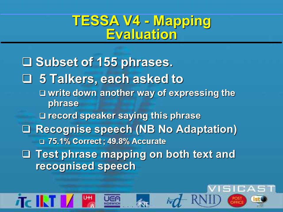 TESSA V4 – Mapping Evaluation