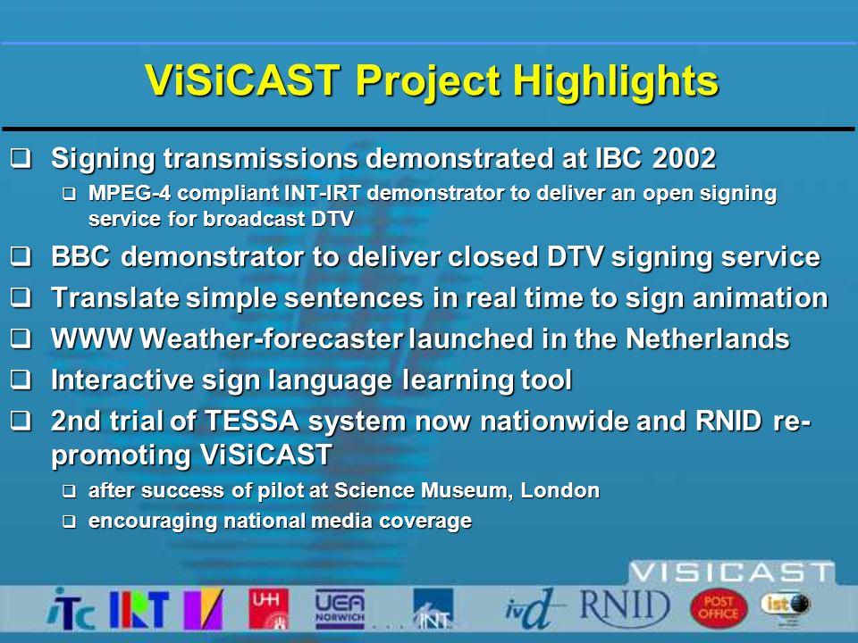 Internet Community Broadcast Evaluation Exploitation AnimationLinguistics ViSiCAST Project Structure Technology U ser Application Exploitation &Dissemination