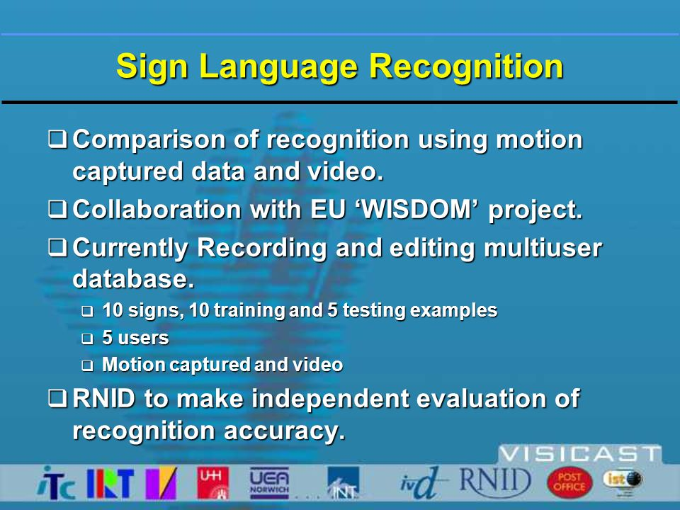 Presentation by Streams – Usability of Virtual Signing  WP2 Sign Tutor  WP1 Television  Closed signing for Broadcast DTT  WP2 Internet  Information and Education for Deaf People  WP3 Face to Face  High Street Post Office Counter Services  WP6 Comparison of virtual signing  with video-recorded Human Signing