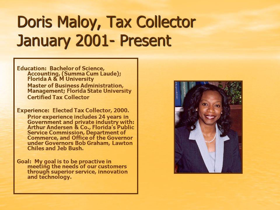 Preceding Tax Collectors John Chaffin 1981 - 2000 Fred Womble 1971 - 1980 Roy E.