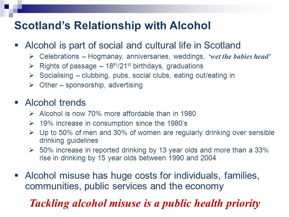 Public Health Consequences of Alcohol Misuse Regular heavy alcohol consumption, binge drinking and daily drinking of relatively small amounts over a long period of time is associated with:-  physical problems – heart problems; stroke; liver disease; cancer  mental disorders  more risky sexual behaviour  family break-up  antisocial behaviour  violence  accidents/Injury  road traffic accidents  workplace performance