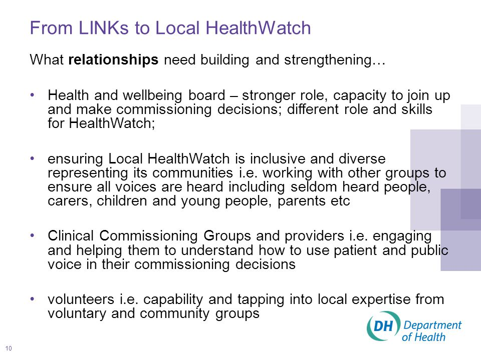 11 Pathfinders and action learning sets Building for continuous learning and development and doing this through putting in place a programme of support: –LINks to be involved in an action learning set to create an action learning network –Partnerships of LINks and local authorities acting as HealthWatch pathfinders to test out aspects of Local HealthWatch and share learning –DH and CQC working collaboratively with stakeholders who are members of the HealthWatch Advisory Group to deliver the HealthWatch programme