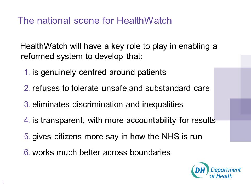 4 Strengthening the voice of patients, users of services and the public and to help achieve this: –Local Involvement Networks (LINks) provide the foundation for Local HealthWatch organisations to be the local collective voice –HealthWatch England will be a new independent consumer champion for the national collective voice The national scene for HealthWatch