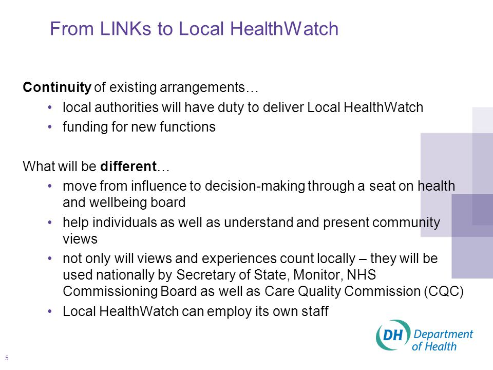 6 From LINks to Local HealthWatch – continuing LINk functions and acquiring new functions LOCAL HEALTHWATCH 'local consumer voice for health and social care' Influencing Help shape the planning of health and social care services signposting Help people access and make choices about care advisory Advocacy for individuals making complaints about healthcare Strong LOCAL consumer voice on views and experiences to influence better health and social care outcomes Respected, authoritative, influential, credible and very visible within the community from 2013/14 seat on the health and wellbeing board Joint Strategic Needs Assessment and Joint Health and Wellbeing Strategy scrutinising quality of service provision informing the commissioning decision-making process empowering people - helping people understand choice providing local, evidence based information representing the collective voice