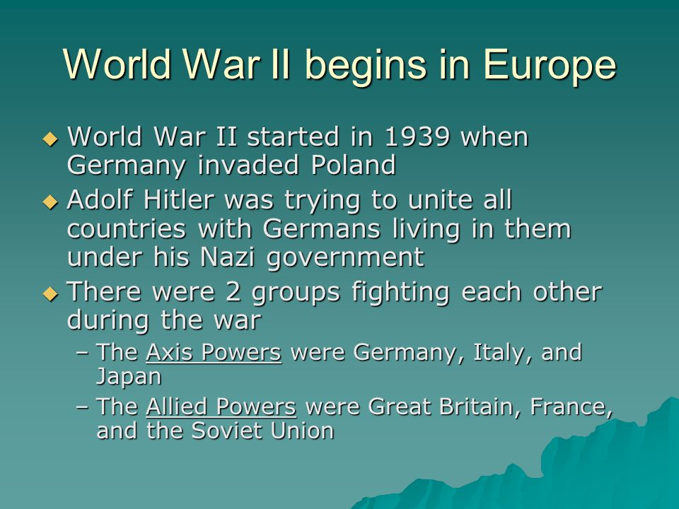 The U.S.in WWII  Just like with WWI, the U.S.
